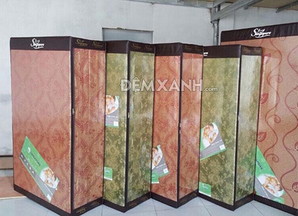Đệm bông ép Singapore vỏ gấm 3 mảnh