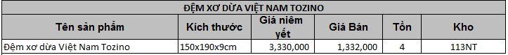 Đệm xơ dừa Việt Nam Tozino