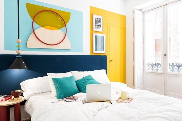 Bộ sưu tập chăn ga gối Sông Hồng cho thiết kế nội thất Color block
