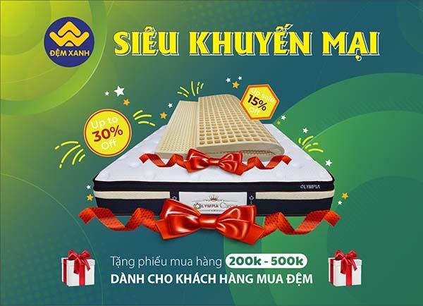 Tặng PMH 200K và 500K cho khách hàng mua đệm tại Đệm Xanh