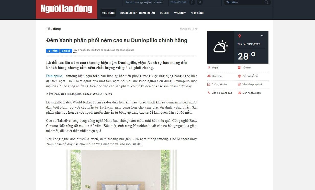 Đệm Xanh phân phối nệm cao su Dunlopillo chính hãng