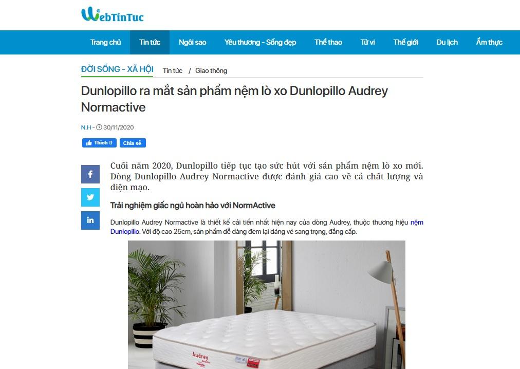 Dunlopillo ra mắt sản phẩm nệm lò xo Dunlopillo Audrey Normactive