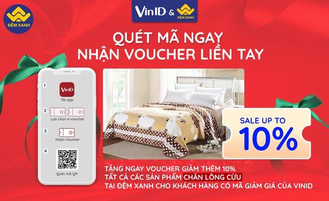 Đệm Xanh kết hợp với VinID tặng ngay Voucher giảm thêm 10% cho tất cả các sản phẩm chăn lông cừu đối với khách hàng Vinid (2020)
