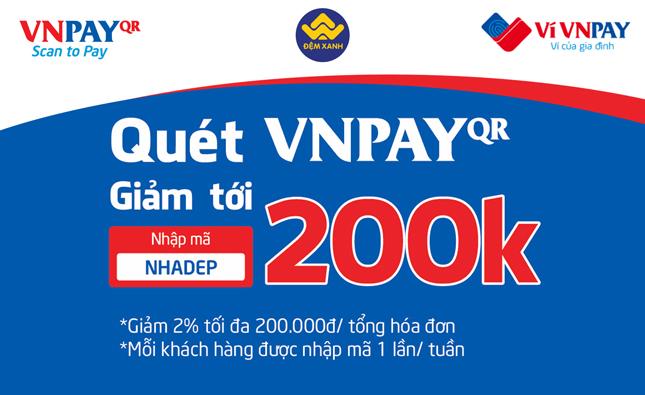 Thanh toán VNPAY nhận ngay giá hời giảm tới 200k khi mua Chăn ga gối đệm tại Đệm Xanh