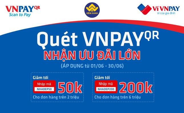 Ưu đãi lớn tháng 6 giảm tới 200k khi thanh toán qua QR VNPAY tại Đệm Xanh