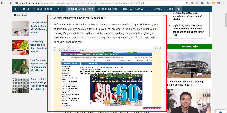 Công ty Minh Phong phản hồi thông tin phản ánh bán chăn ga gối đệm giảm giá quá sốc