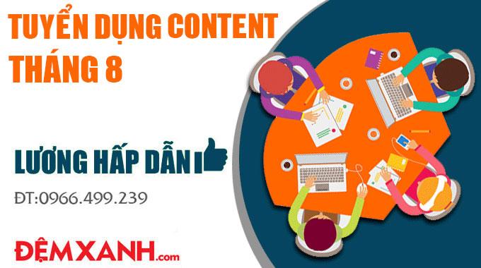 Tuyển dụng gấp vị trí Content đi làm ngay 2019