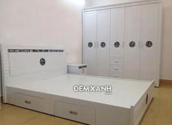 Giường gỗ MDF 10 sơn trắng có ngăn kéo