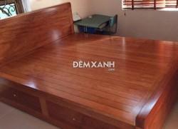 Giường gỗ xoan đào 03 có ngăn kéo