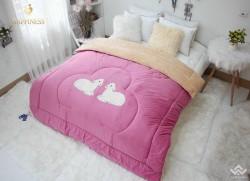 Chăn lông thỏ cao cấp màu nâu hồng