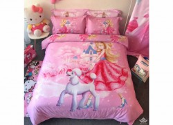 Chăn ga gối Olympia hoạt hình OHH2048 Công chúa hồng