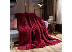 Chăn lông cáo Nicolas màu đỏ mận LCA2102