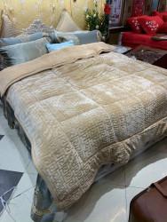 Chăn lông cừu Singapore chữ Vạn màu be