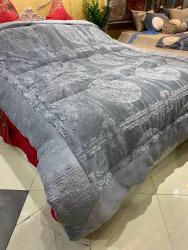 Chăn lông cừu Ấn Độ ép họa tiết màu xám