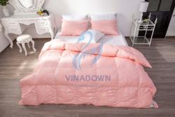 Ruột chăn lông vũ Vinadown dày màu hồng in hoa