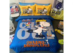Chăn ga gối Olympia hoạt hình OHH2129 Snoopy Trượt Tuyết