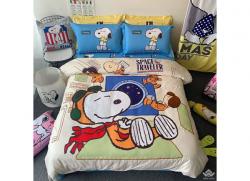 Chăn ga gối Olympia hoạt hình OHH2132 Snoopy Cam
