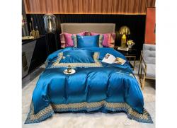 Bộ chăn ga gối lụa Singapore luxury 6 món  LSL2116