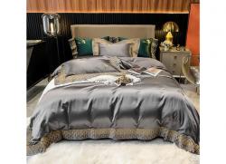 Bộ chăn ga gối lụa Singapore luxury 6 món  LSL2119