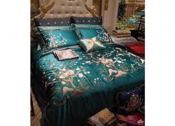 Bộ chăn ga gối lụa Singapore luxury 6 món  LSL2121