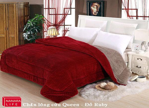 Chăn lông cừu Queen - Đỏ Ruby
