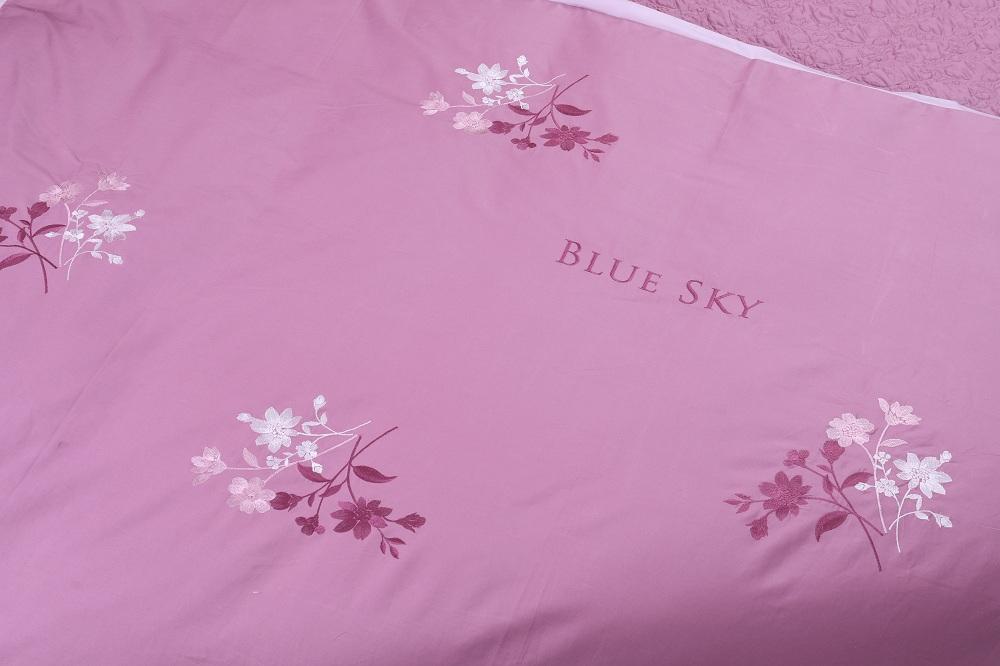 Bộ ga phủ Hanvico thêu Blue Sky – BS M74
