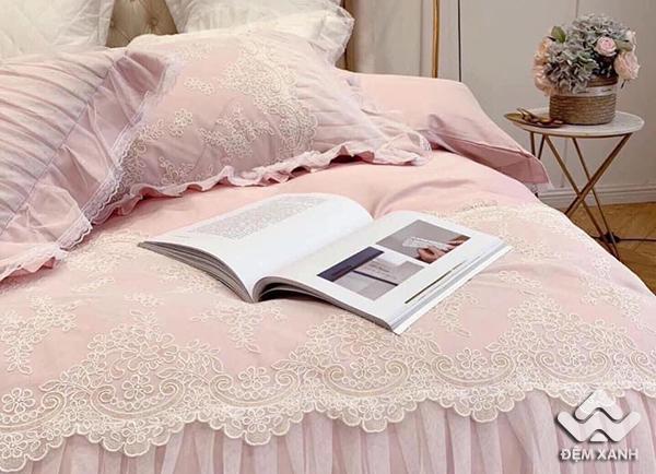 Bộ Chăn ga gối tiểu thư công chúa màu hồng